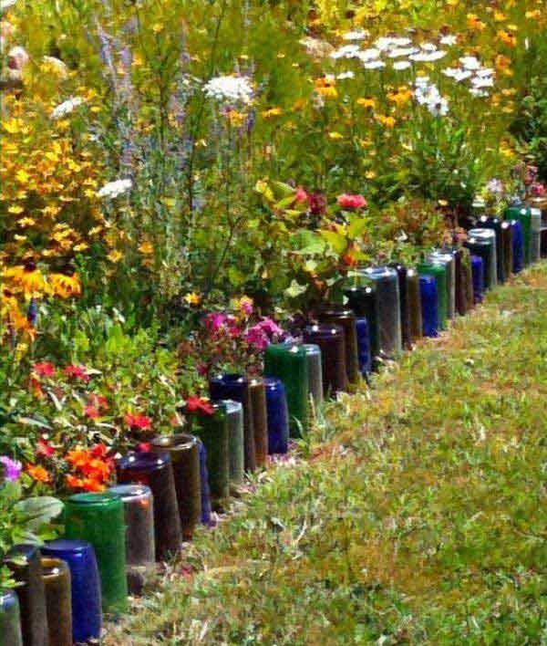 decorar jardines botellas