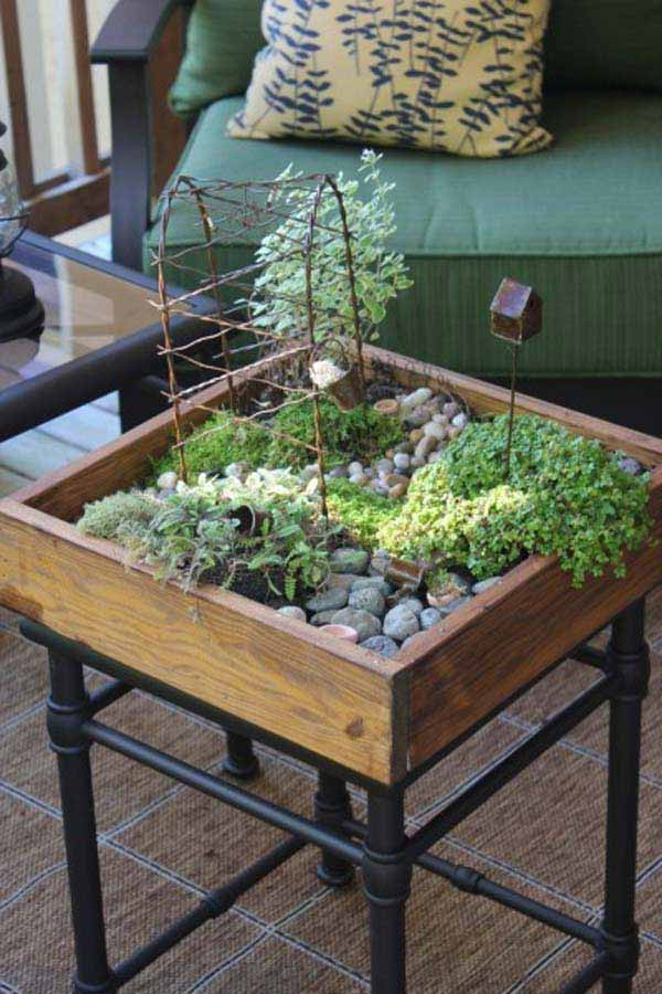 25 locos proyectos para crear jardines de interior en for Fairy garden box ideas